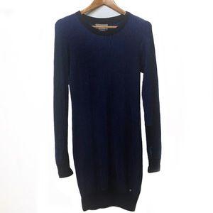 BENCH Rib-knit dress blue black